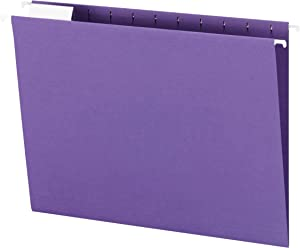 Smead Colored Hanging File Folder with Tab, 1/5-Cut Adjustable Tab, Letter Size, Purple, 25 per Box (64072)