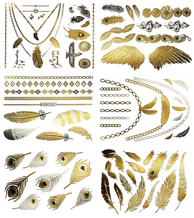 Terra Tattoos Metallic Tattoos - Over 75 Boho Feather Temporary ...