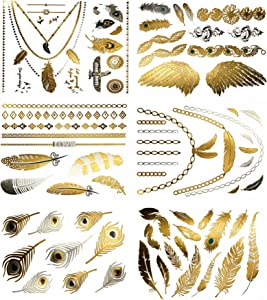 Sweepstakes: Boho Feather Metallic Temporary Tattoos