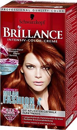 schwarzkopf brillance 843 ensoleille bronze rouge coloration intensive - Coloration Rouge Schwarzkopf