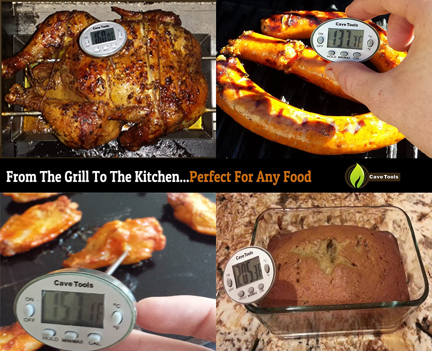 Instant Read Digital Thermometer for Cooking BBQ Grilling Candy Chocolate Meat Baking Liquids Smoker