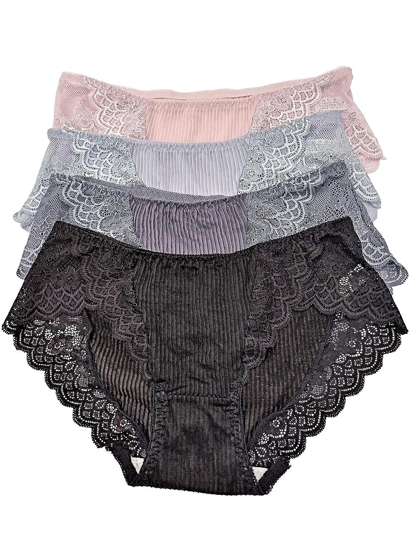 Frauen Unterwäsche Damen Mittlere Taille Spitzenbesatz Slips Atmungsaktiv