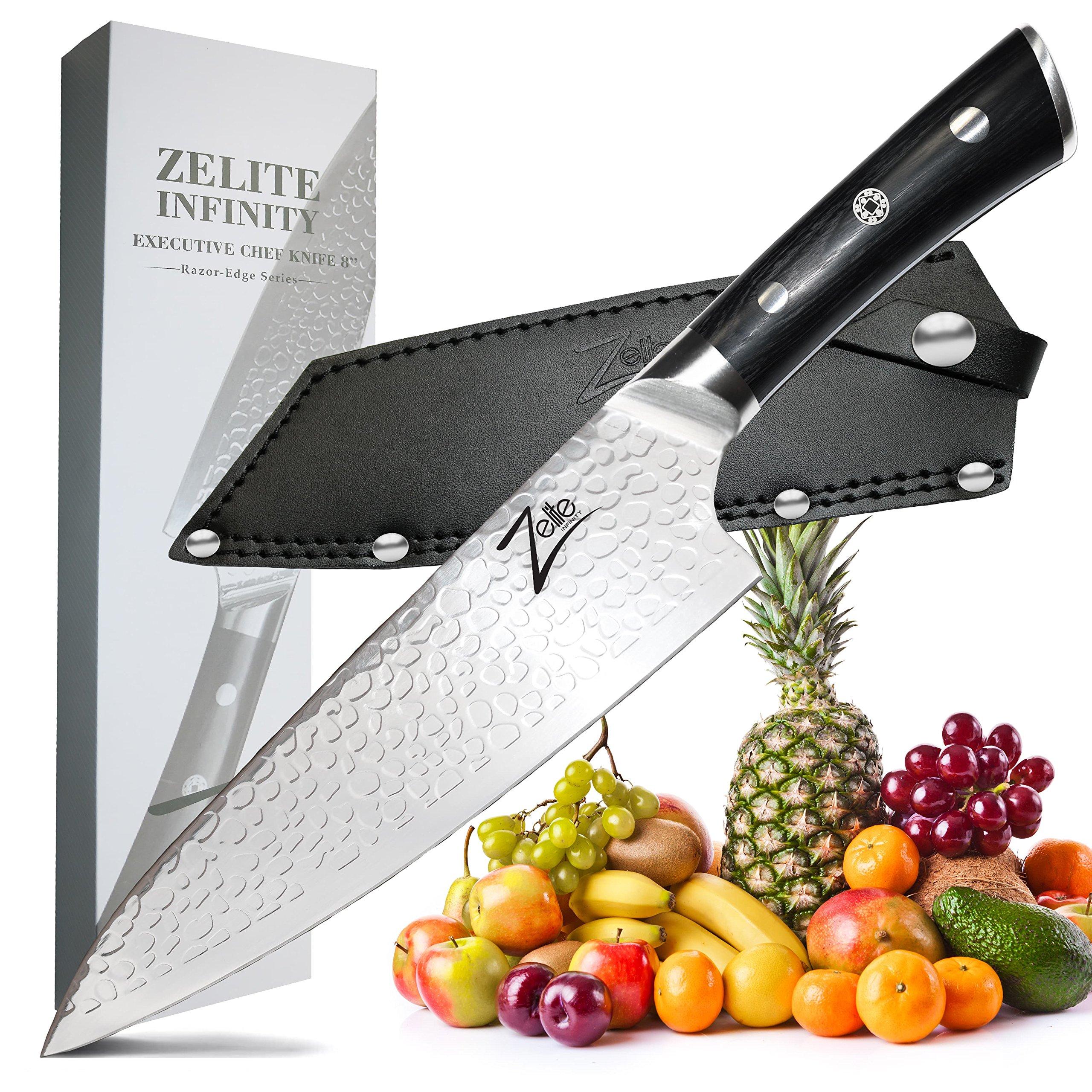 ZELITE INFINITY Executive Chef Knife 8 Inch >> Razor-Edge Series >> Japanese AUS8 High Carbon Stainless Steel, Black Pakkawood Handle, STORM-X Finish, Deep Chefs Blade, Ultra-Premium Leather Sheath