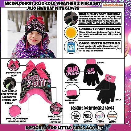 Amazon.com  Nickelodeon Girls  Little JoJo Siwa Hat and Gloves Cold Weather  Set e4498b366946
