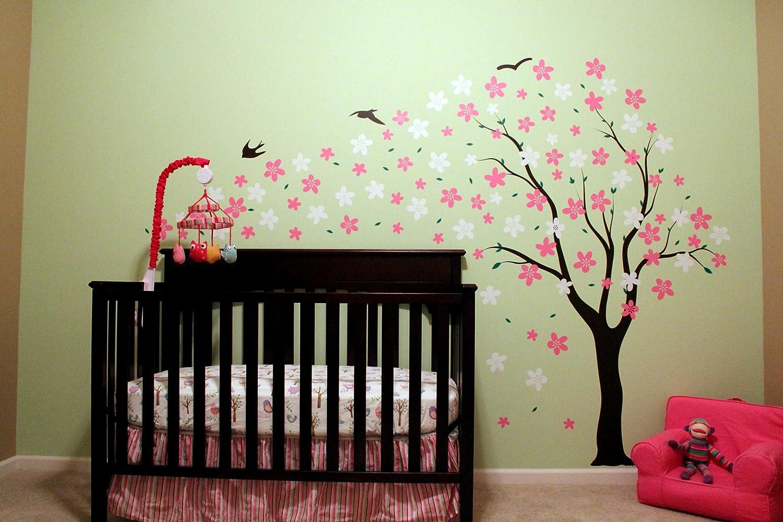 ポップデコルズPT-0134-V5漂流花と鳥71インチの高さ、花は左、黒/ピンク/白の美しい壁のデカールの保育園の装飾   B016ONASAI