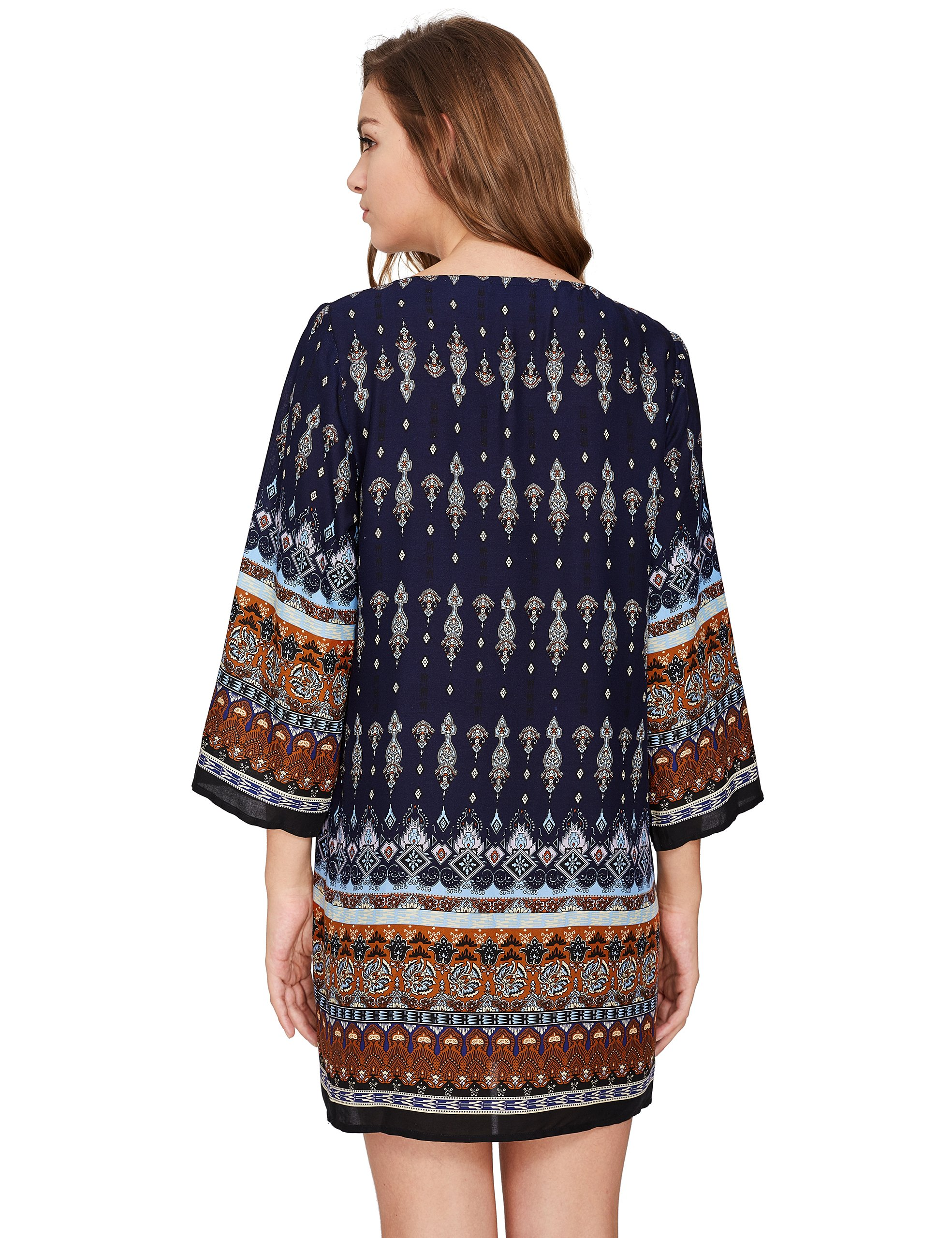 ROMWE Women's Boho Bohemian Tribal Print Summer Beach Dress Navy S by Romwe (Image #2)