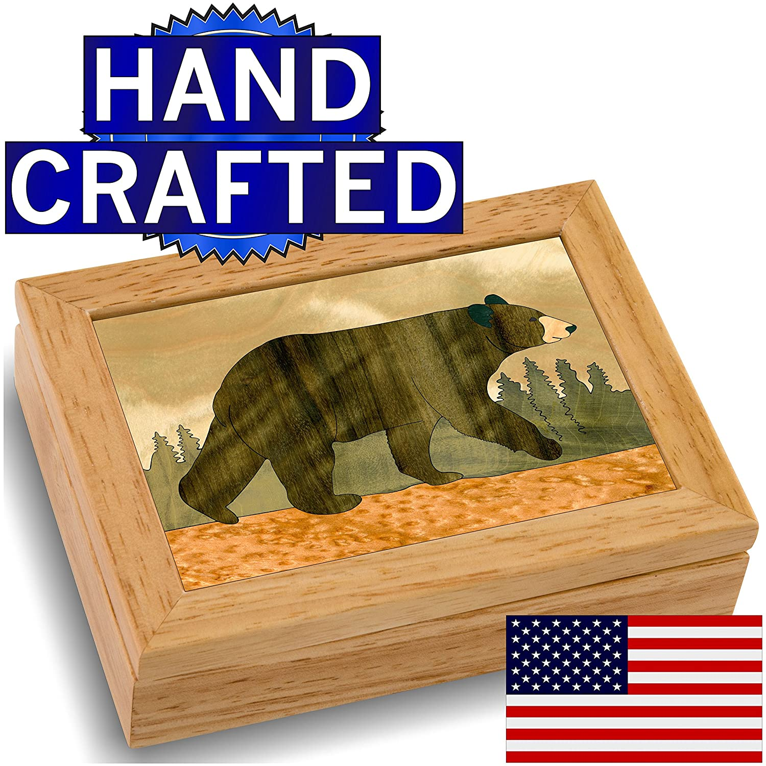 wood art bear box handmade in usa unmatched quality unique no two - Decorative Boxes