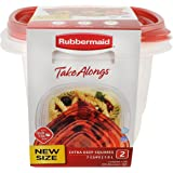 Rubbermaid TakeAlongs Deep Squares Food Storage Containers, 7 Cup, Chili Tint, 2 Pack 1927005