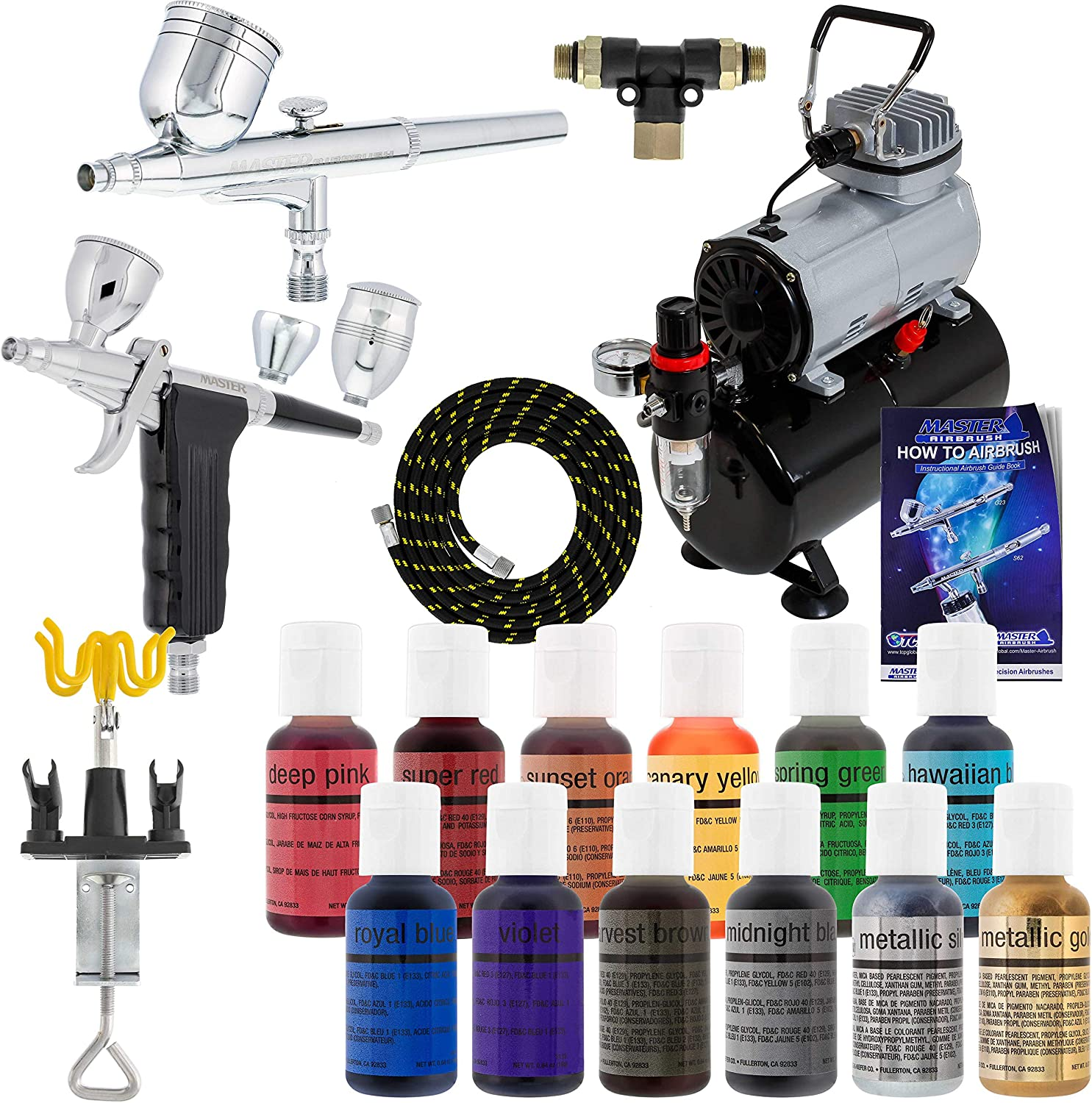 Master Airbrush Cake Decorating Airbrushing System Kit with 12 Color Chefmaster Food Coloring Set - G22 Gravity Feed, G76 Trigger 3 Cup Airbrush, Compressor with Air Tank, Holder, Guide Booklet