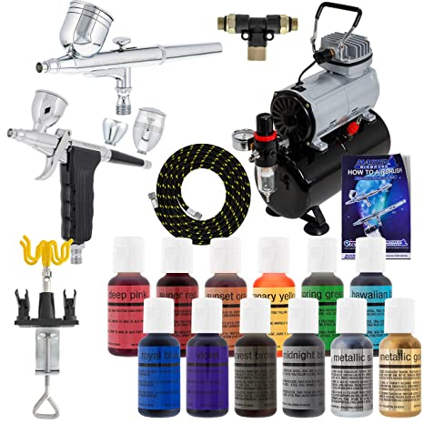 2 Pro Master Airbrush Cake Decorating Airbrushing System Kit with 12 Color  Chefmaster Food Coloring Set - G22 Gravity Feed, G76 Trigger 3 Cup ...