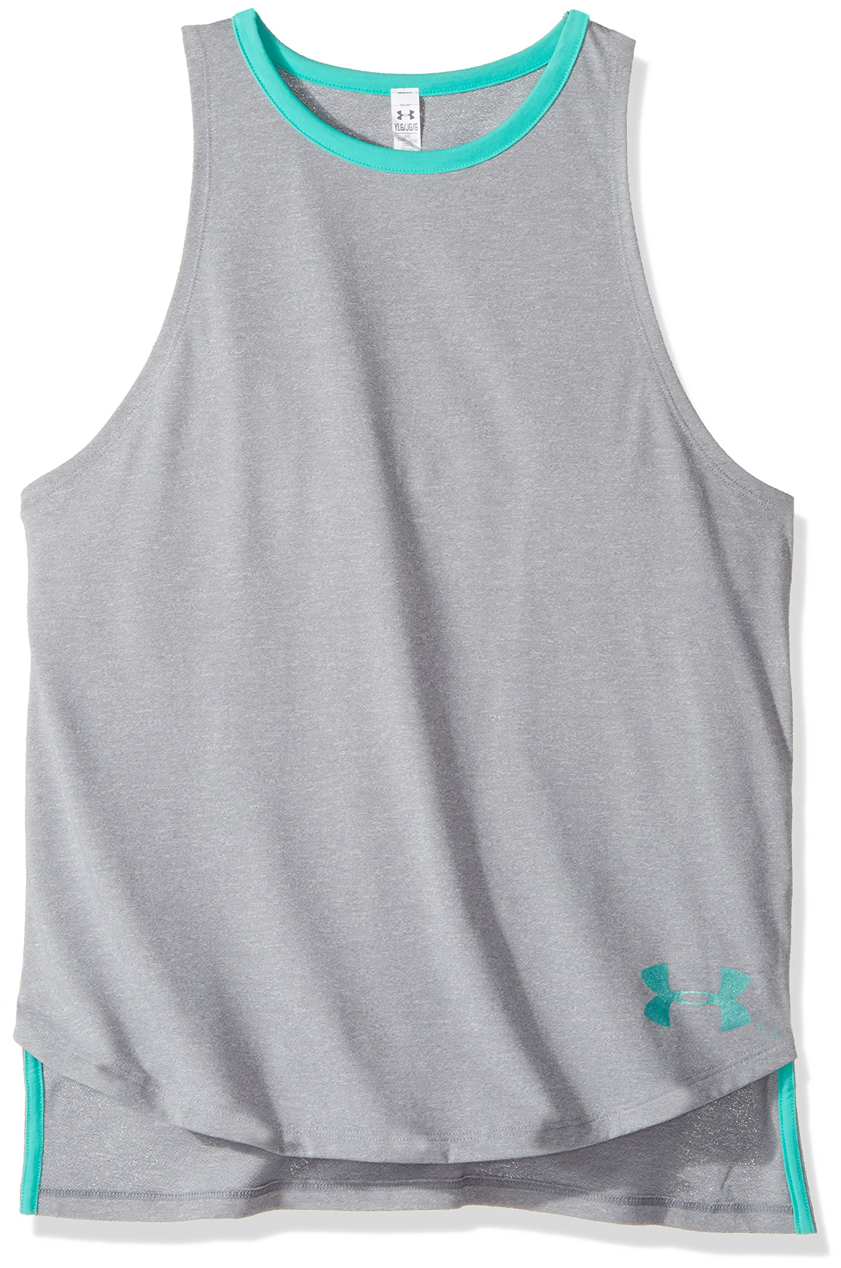 Under Armour Girls Threadborne Play Up Tank Top,Steel /Absinthe Green, Youth X-Small