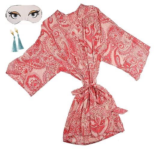 Amazon.com  Pink Floral Paisley Kimono Robe Gift Set  Handmade 8c636123b