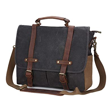 Mens Vintage Genuine Leather Waxed Canvas Briefcase Messenger Bag 15.6 Inch  Waterproof Large Satchel Shoulder Bag 18cc304c5f03f