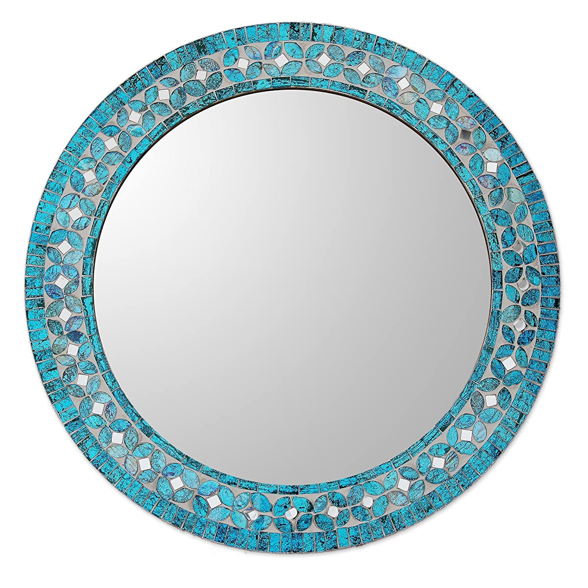 NOVICA Glass Mosaic Wall Mirror, Turquoise Blossom