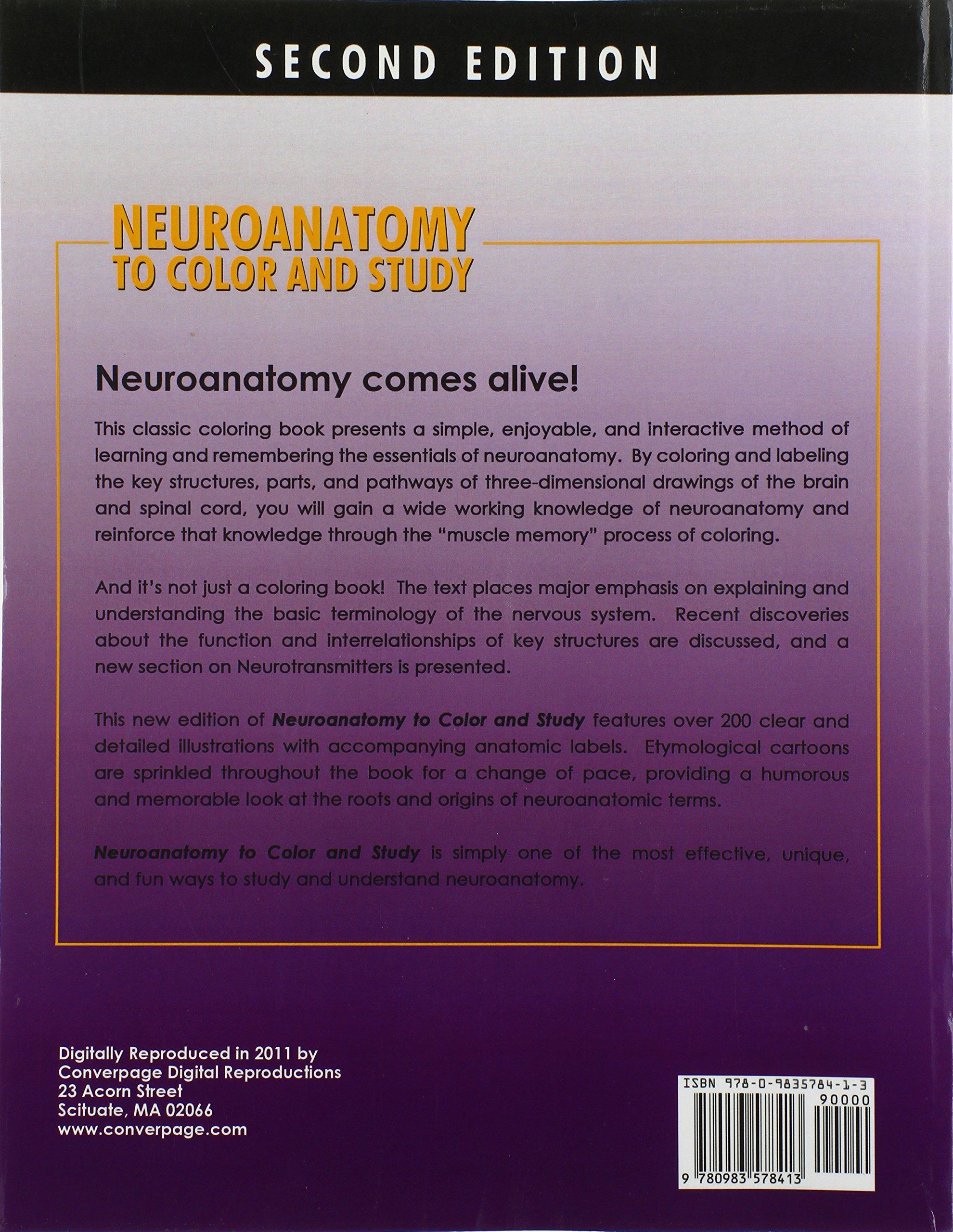 neuroanatomy to color and study amazoncouk ray poritsky barbara k freeman 9780983578413 books - Neuroanatomy Coloring Book