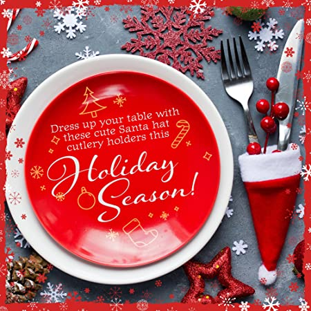 8 Mini Gorros de Santa Claus Navideños - Accesorio de Decoración para Cubertería - Adorno de Mesa para Cena Fiesta de Celebración de Navidad -Articulo de ...