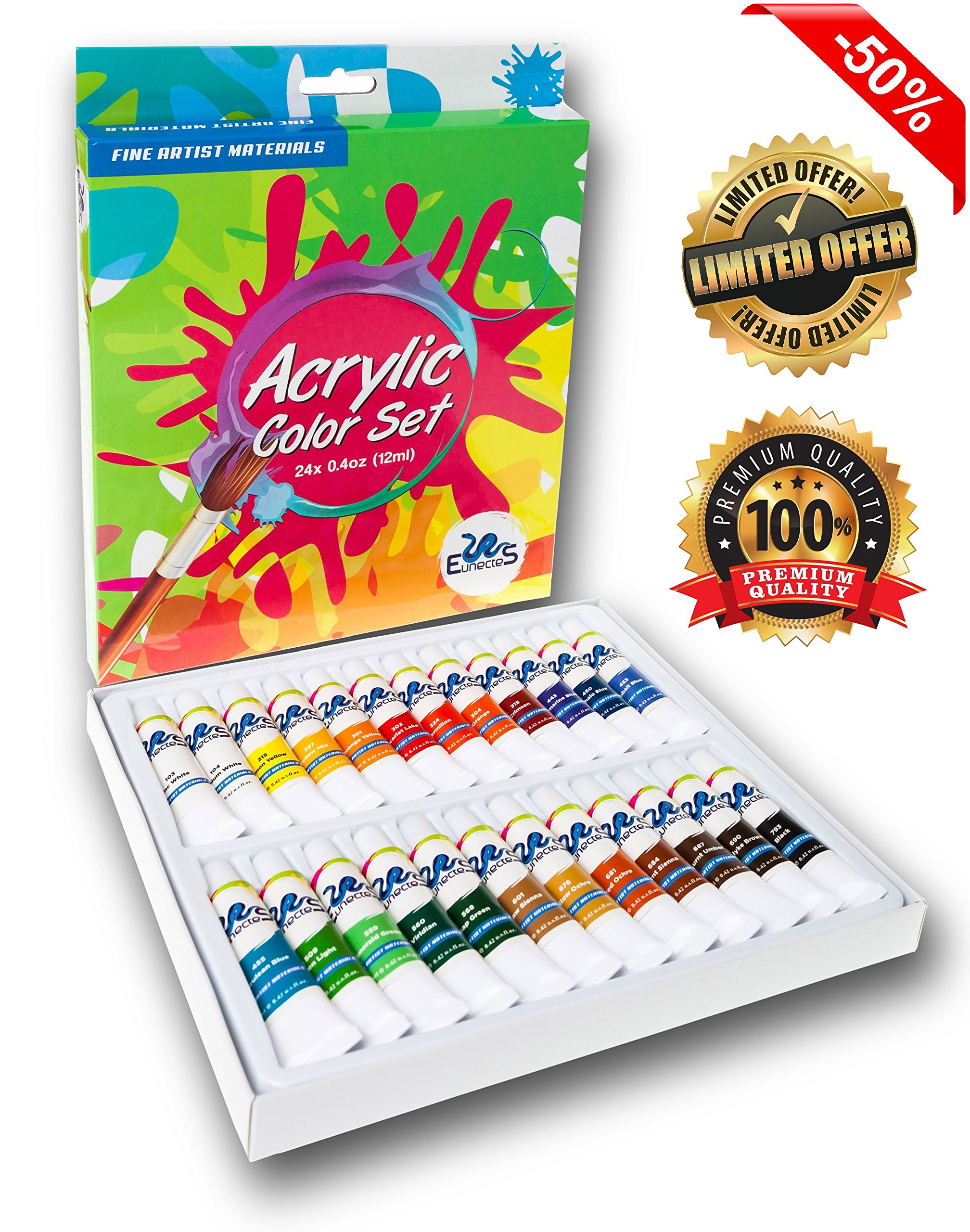 ACRYLIC PAINT SET - Best Artist Kit of 24x12ml - Color Paint - For Kids Adults Beginners and Professionals - Ebook - For Canvas, Wood, Clay, Fabric, Nail Art, Ceramic And Crafts - Money Back Guarantee