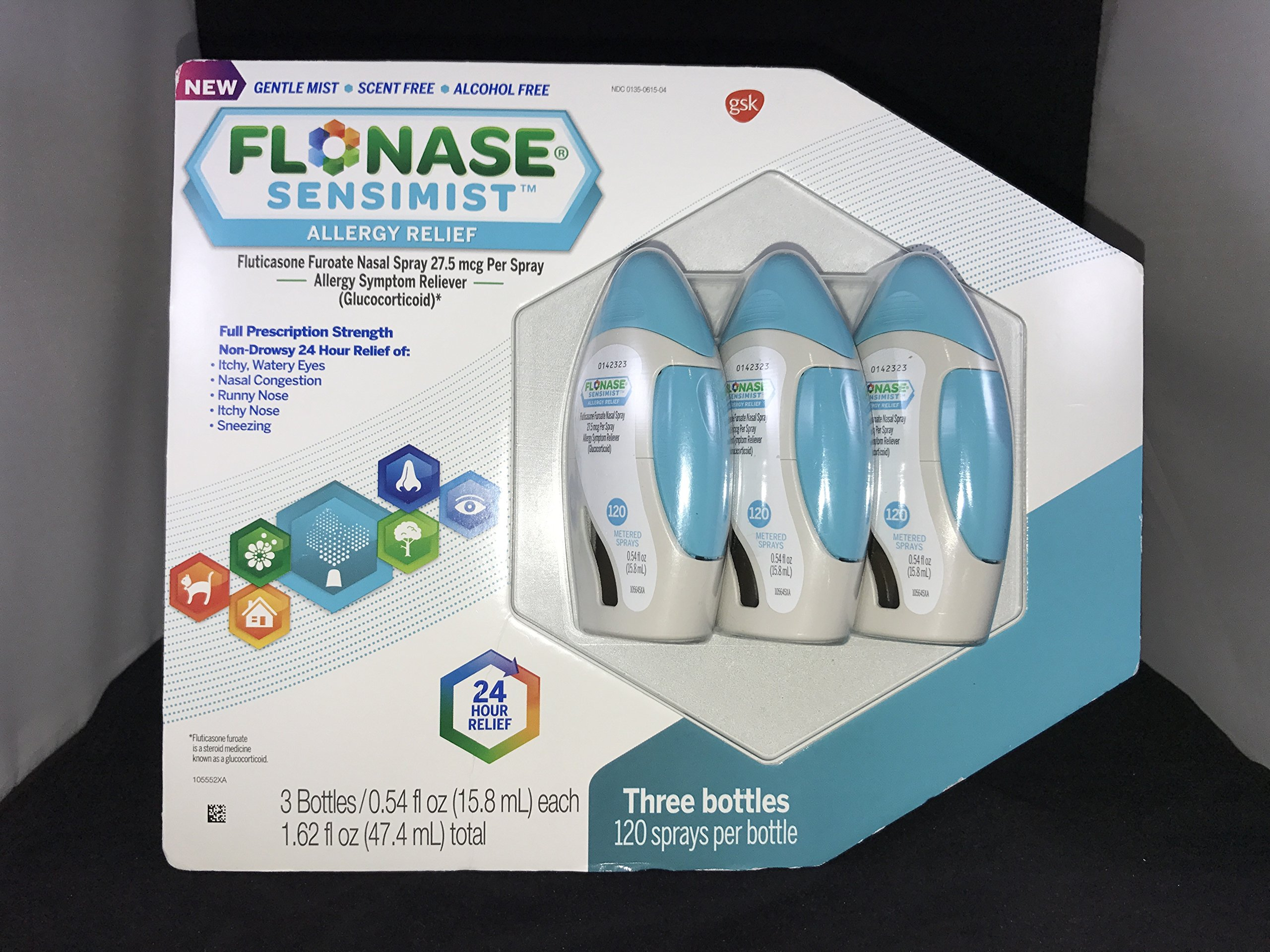 Flonase Sensimist Allergy Relief Nasal Spray, 120 Count ( 3 Pack/ 360 Count )