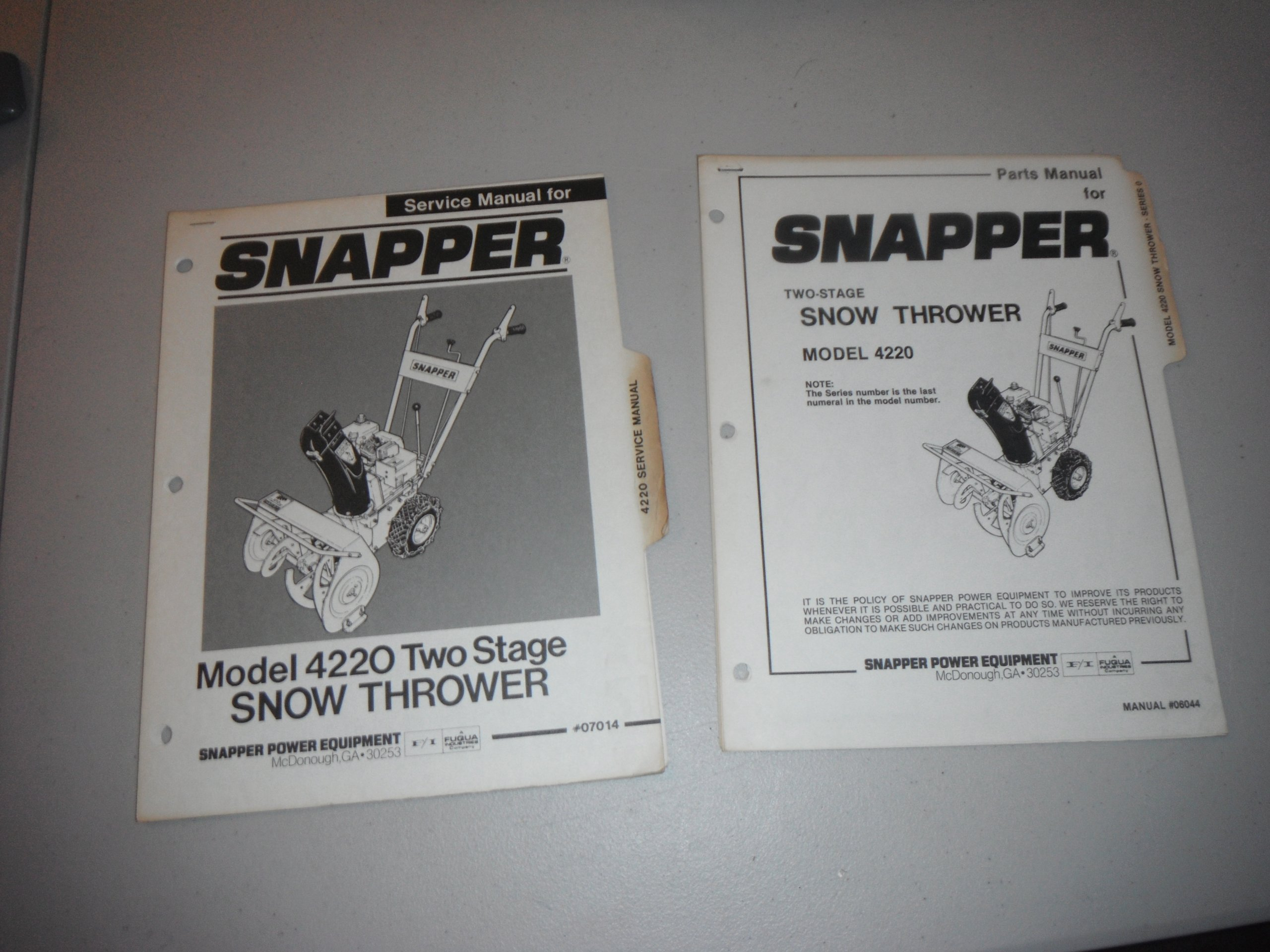 Snapper Parts Manual Service Two Stage Snow Thrower Model Diagram 4220 1985 Books