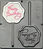 Happy Birthday Lollipop Chocolate Candy Mold Scalloped Shape 3306