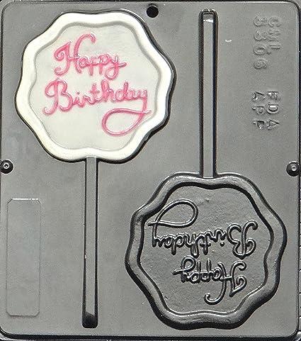 Happy Birthday Lollipop Chocolate Candy Mold Scalloped Shape 3306