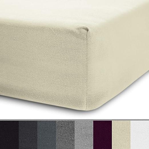 Lumaland Luxury Sábana Ajustable Jersey para Cama de Agua y boxspring 100% algodón con Banda elástica 180-200 x 200-220 cm Arena: Amazon.es: Hogar