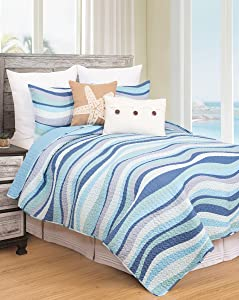 Seawaves Sea Waves Ocean Coastal Twin 2 Piece Nautical Beach Theme Quilt and 1 Sham Bedding Set