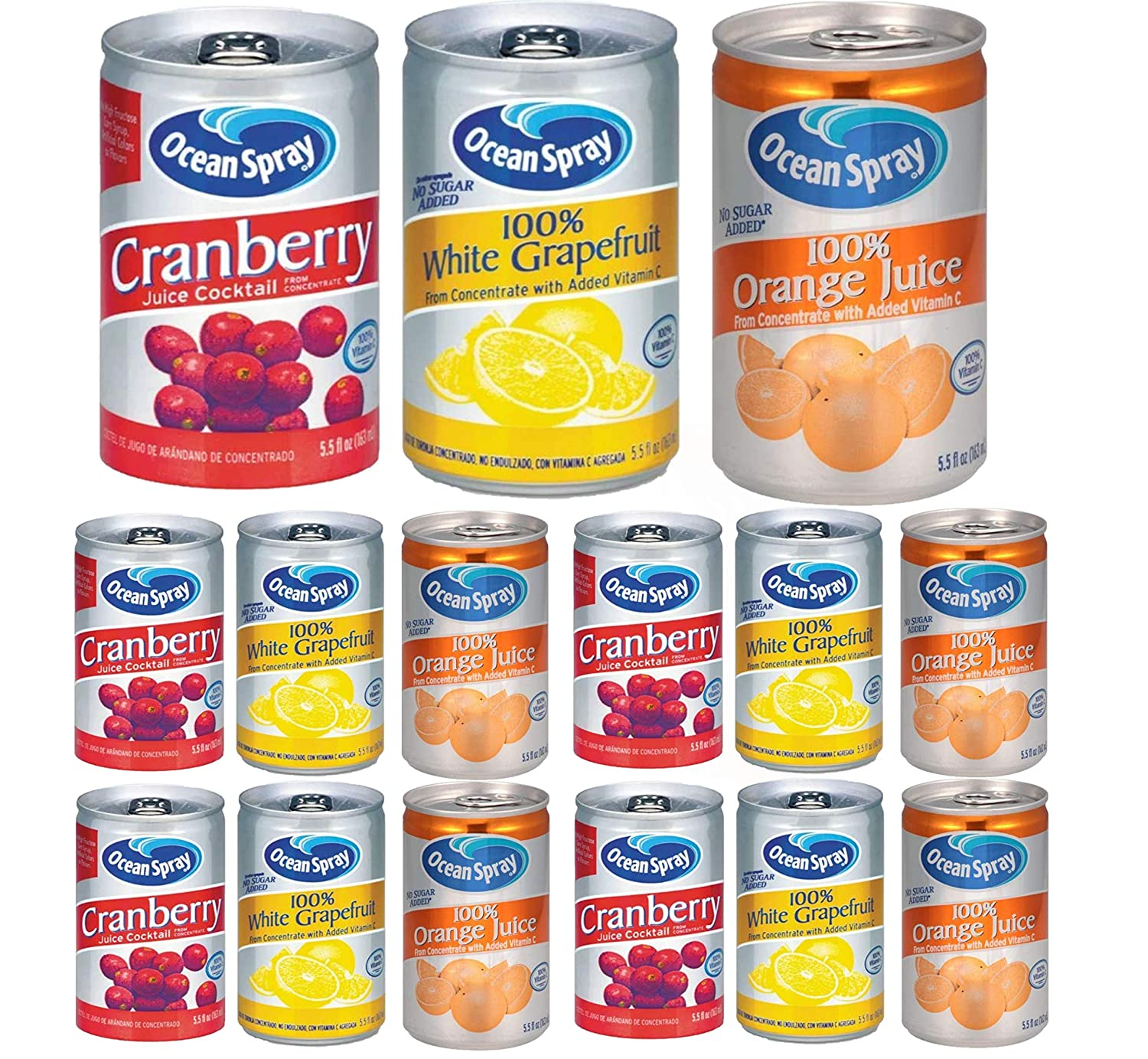 OCEAN SPRAY FRUIT JUICES-5.5oz CANS-3 Flavor/12 Can Variety Pack-4 of each flavor