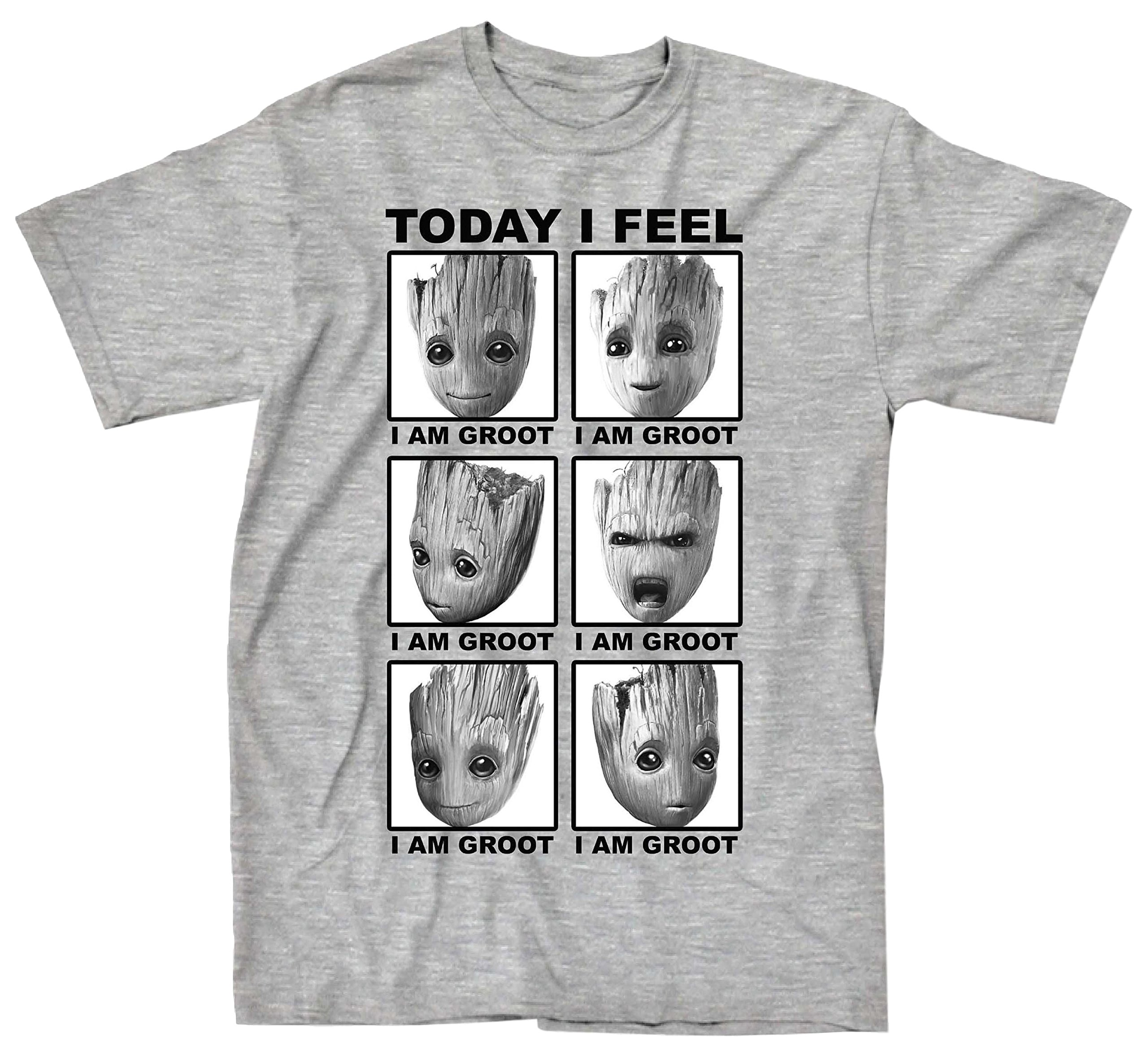 Marvel Guardians Of The Galaxy 2 Face Of Groot I Feel T-shirt (Extra Large , Heather Grey)