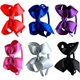 Syleia Fashion Headbands with 4 inch Bow, Set of 6 Blue, White, Black, Red, Purple, Rose School and Playtime Perfect Hair
