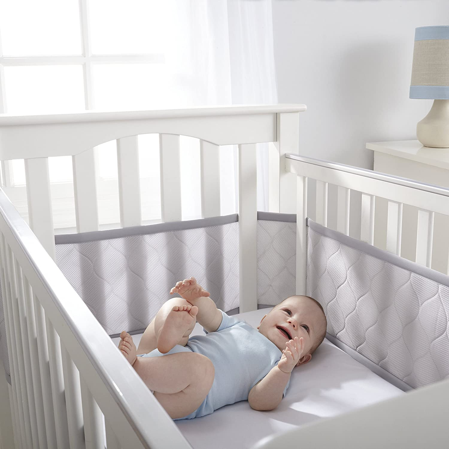 Amazon BreathableBaby Deluxe Embossed Mesh Crib Liner Gray Toys Games