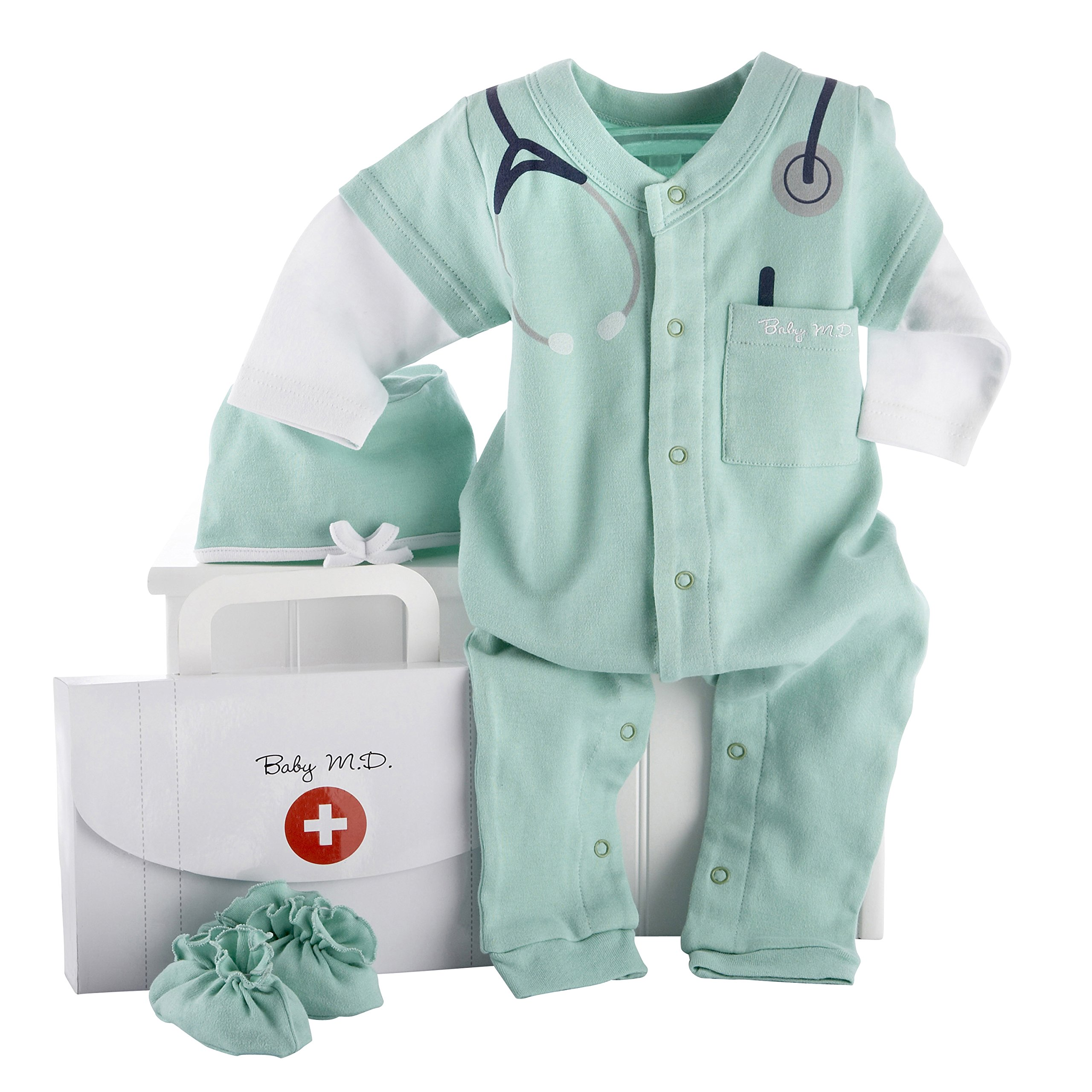 Baby Aspen, Baby M.D. Three-Piece Layette Set in''Doctor's Bag'' Gift Box, 0-6 Months by Baby Aspen