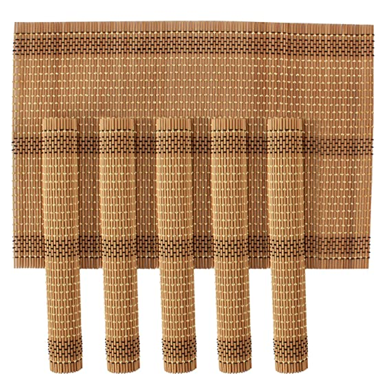 HOKIPO Wooden Dinner Table Kitchen Placemats Set, 6 Piece, Brown <span at amazon