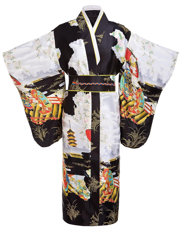 Amazon.com  Women s Gorgeous Traditional Japanese Satin Kimono Robes  Nightgown Long Black  Clothing dbd4b2c73c