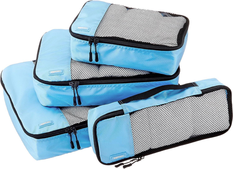 AmazonBasics - Bolsas de equipaje (pequeña, mediana, grande y alargada, 4 unidades), Azul (Cielo)