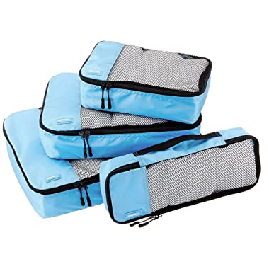 AmazonBasics 4 Piece Packing Travel Organizer Cubes Set - Sky Blue