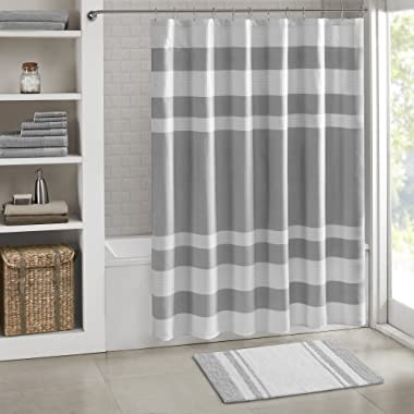 Madison Park Spa Reversible Cotton Bath Mat, Casual Striped Water Absorbent Bathroom Rugs, 24X72, Grey
