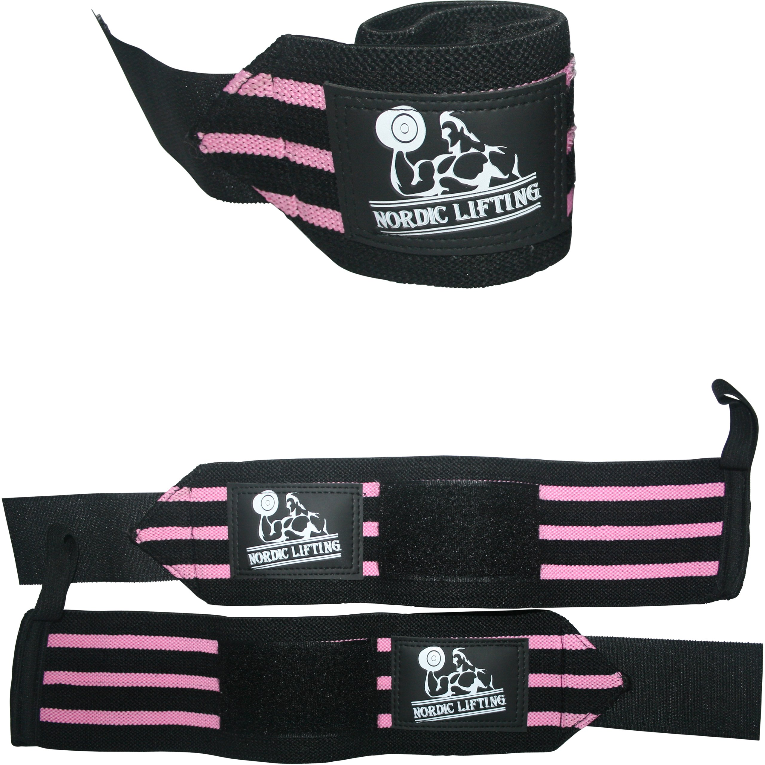 Wrist Wraps (1 Pair/2 Wraps) for Weightlifting/Cross Training/Powerlifting/Bodybuilding-Women & Men-Premium Quality Equipment & Accessories Avoid Injury During Weight Lifting-(Pink)-1 Year Warranty