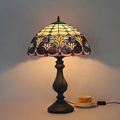 12 Pouces Européenne Créatif Vintage Pastoral Mignonne Fleur Faite Main Lampe De Table En Verre Lampe De Bureau