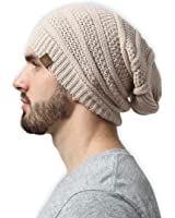 Slouchy Cable Knit Beanie by Tough Headwear - Chunky, Oversized Slouch Beanie Hats for Men & Women - Stay Warm & Stylish - Serious Beanies for Serious Style