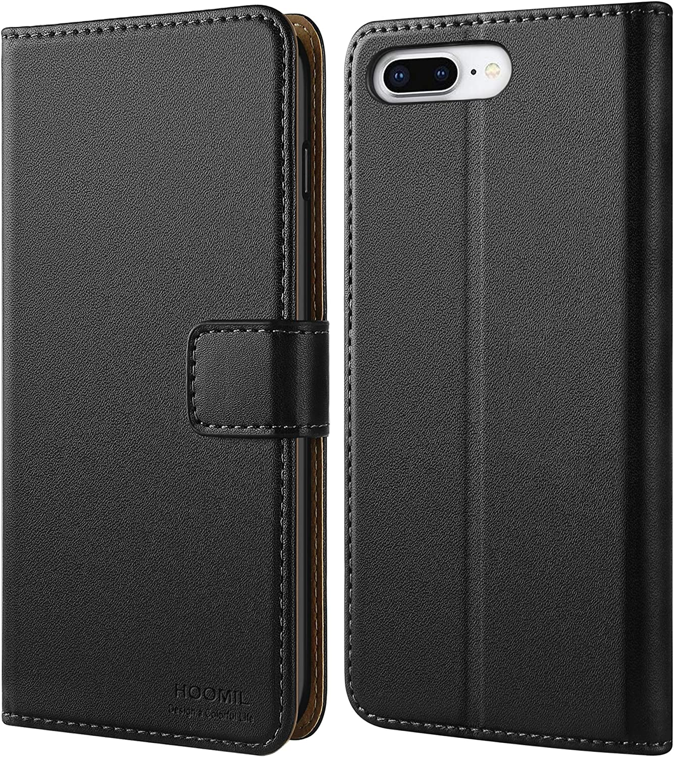 HOOMIL Wallet Case for iPhone 7 Plus/iPhone 8 Plus, Flip Leather Cover, Black