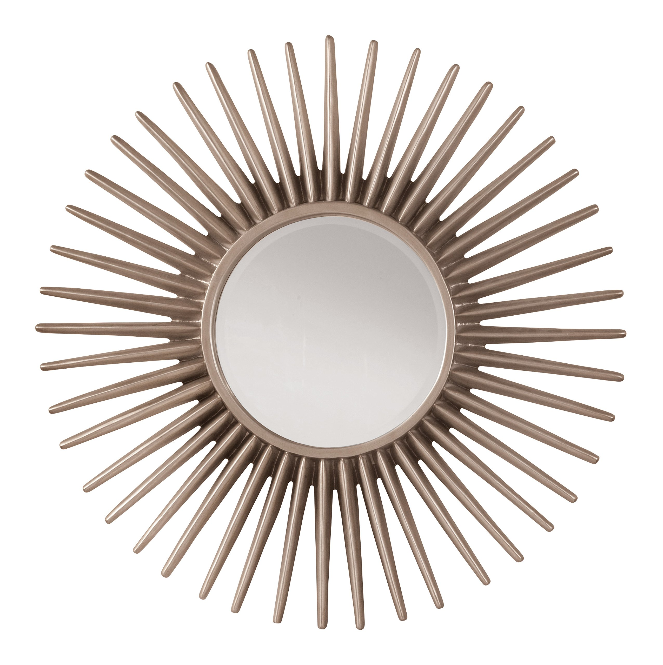 OSP Designs GC1263-osp Ella Beveled Wall Mirror with Sunbeam Frame, Silver Pewter - Color: Silver Pewter Fabric: N/A;N/A Manufactured in China - bathroom-mirrors, bathroom-accessories, bathroom - 915hjr 9%2BbL -