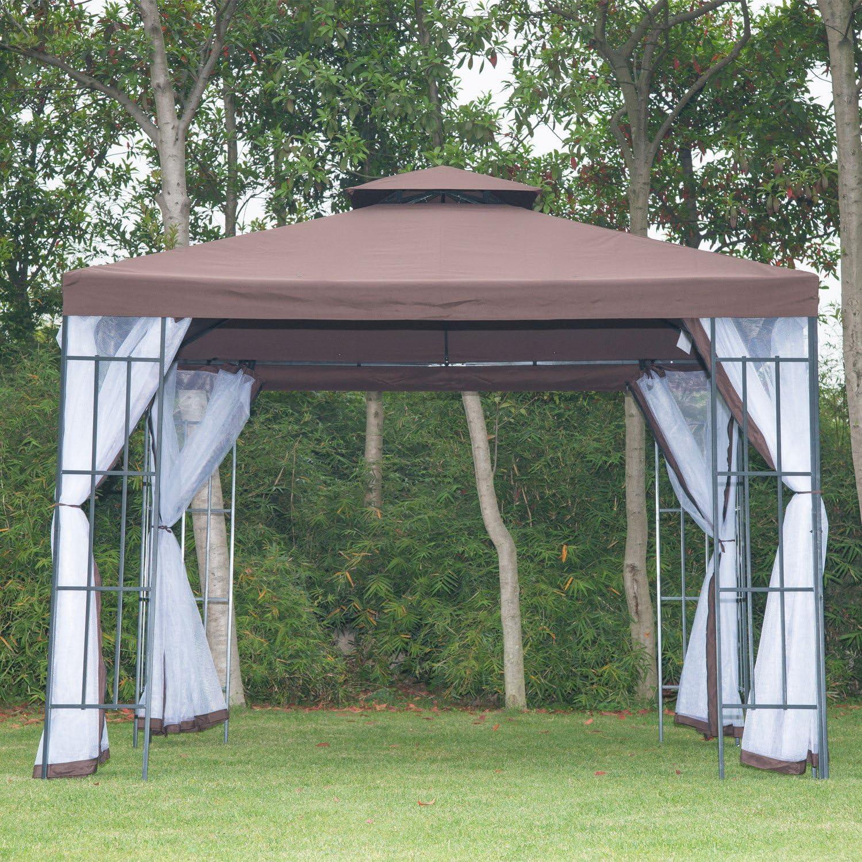 Outsunny – ® Carpa jardín Cenador Carpa Doble Techo 3 x 3 m: Amazon.es: Jardín