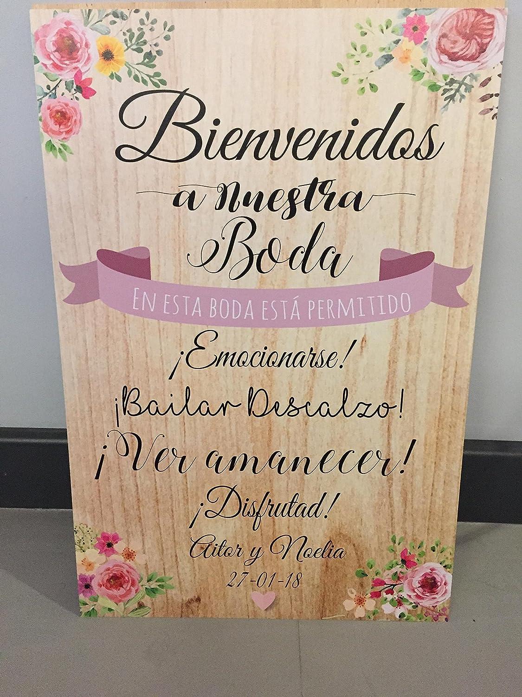 Cartel Bienvenidos a nuestra Boda flores con flores y fondo ...