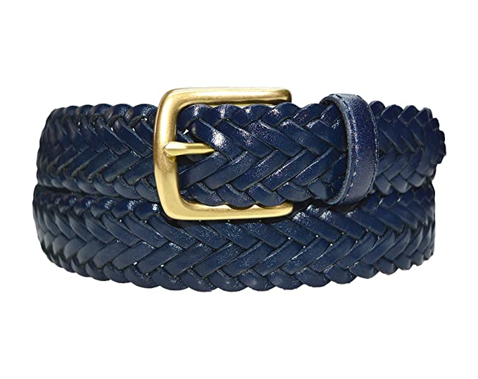 3d7042e8f W796 - Women's casual woven herringbone braided leather belt with brass  buckle at Amazon Women's Clothing store: