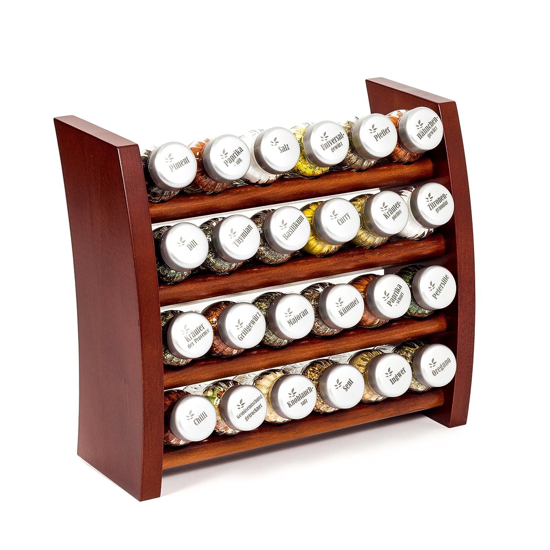 Gewürzregal, Küchenregal aus Holz für Gewürze und Kräuter, 24 Gläser, Gald – 24F-6x4 braun matt