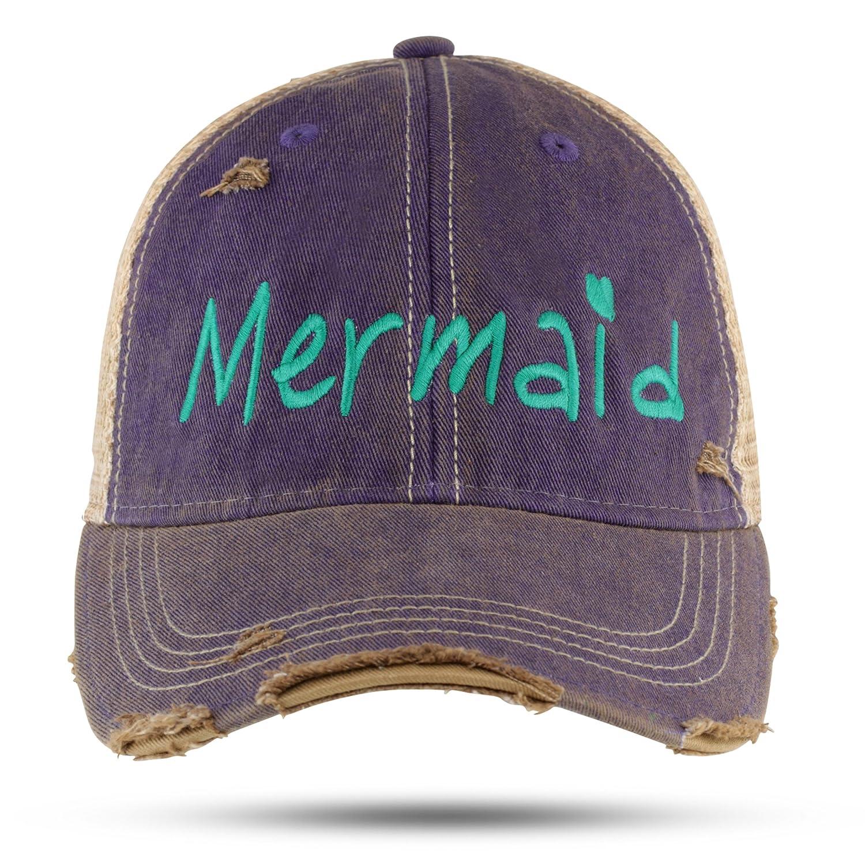 GA Girl Mermaid Baseball Cap Distressed Trucker Hat for Women at Amazon  Women s Clothing store  ff3fb901cad