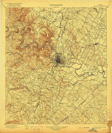 Amazon Com Yellowmaps Austin Tx Topo Map 1 125000 Scale 30 X 30