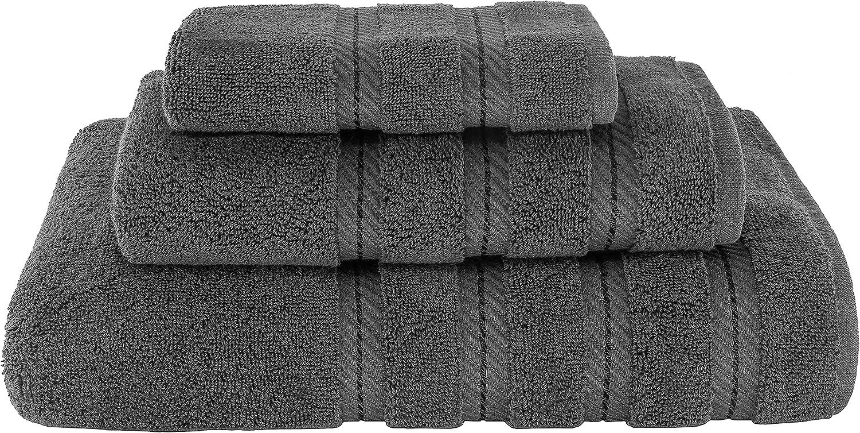 American Soft Linen 3 Piece, Turkish Cotton Premium & Luxury Towels Bathroom Sets, 1 Bath Towel 27x54 inch, 1 Hand Towel 16x28 inch & 1 Washcloth 13x13 inch [Worth $36.95] Dark Grey