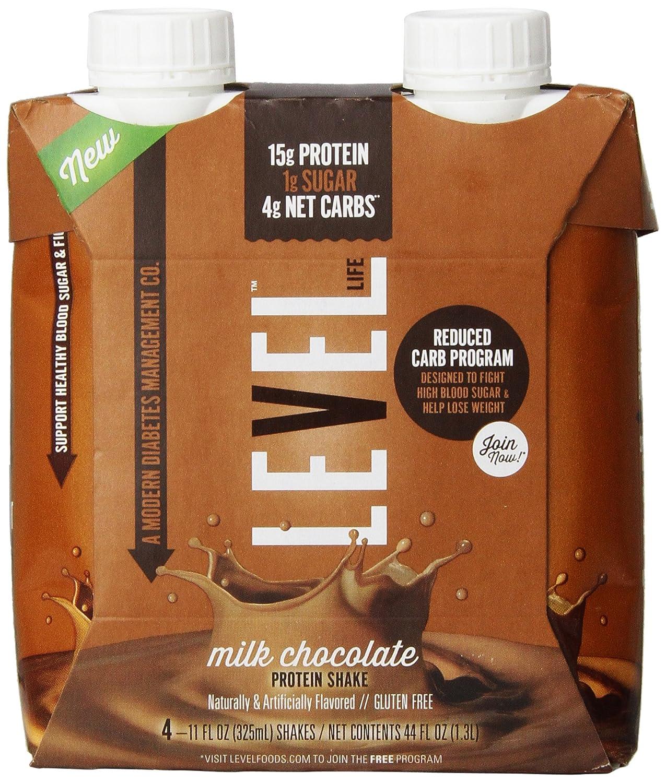 Level Life Diabetes Management Protein Shake Milk Diabetasol Coklat 600 Gr Chocolate 11 Fl Oz 4 Count Sports Nutrition Ready To Drink Grocery Gourmet